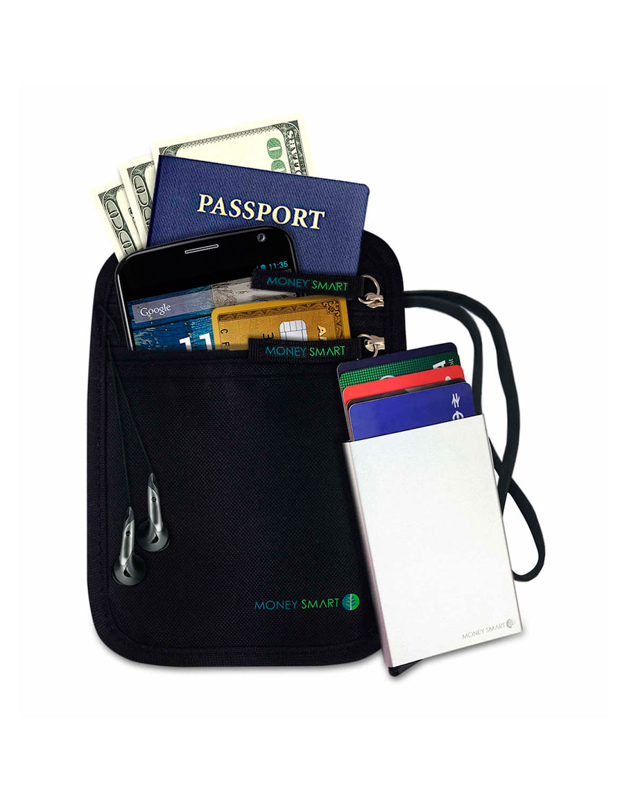 Black Neck Pouch with Wallet - Money Smart Store