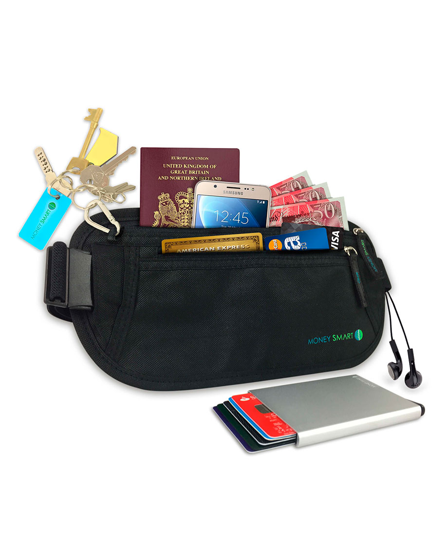 Black Money Belt with Travel Wallet - Money Smart Store